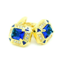 Cufflinks Gold and Blue Coloured Wedding Formal Pair Cuff Links with Stones