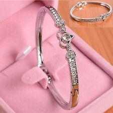 Bling Womens Ladies Crystal Rhinestone Heart Bangle Silver Bracelet Jewelry Gift