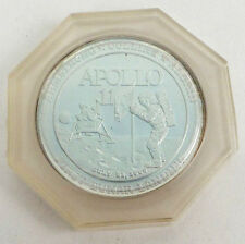 APOLLO 11 SILVER PLATE PROOF Commemorative Medals In case Toning Stamped Reeded