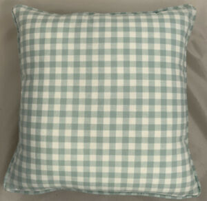A 16 Inch cushion cover in Laura Ashley Gingham Duck Egg Fabric