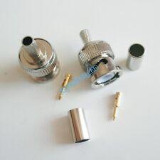 10X BNC male plug crimp RG58 RG142 LMR195 RG400 cable straight RF Connector