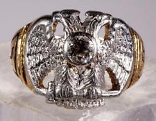 Vintage Men's Double Eagle .36 CT Diamond Masonic Ring 14K 15.8 grams Size 10