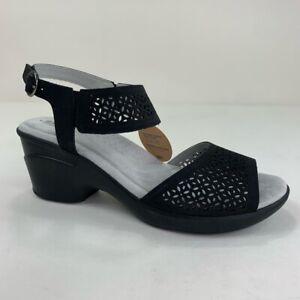 Jbu By Jambu Womens Toledo Platform Heel Sandals Black Ankle Strap Buckle 9M New