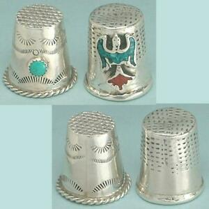 2 Vintage Sterling Silver & Turquoise Thimbles * Native American * Circa 1970s