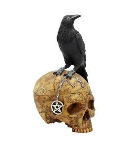 Nemesis Now - GOTHIC RAVEN SKULL WITCH PENTAGRAM TRINKET BOX - Salems Familiar