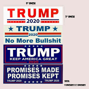 4 Pcs Set Donald Trump Bumper Stickers 2020 Keep America Great Train Sticker US