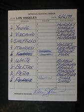6/6/99 Davey Johnson Signed Los Angeles Dodgers Game Lineup Umpire Card 138