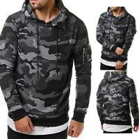 US Mens Stylish Camo  Sweatshirts Hooded Hoodie Slim Fleeces Tops