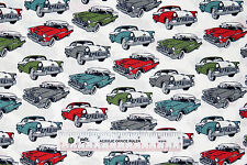 Classic Cars 55 Chevy 56 Ford Boys Mens Cotton Fabric BTY (M6) +