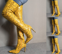 Womens Pointy Toe High Stiletto Heel Shoes Over Knee Thigh Boots Side Zip Snake