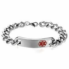 High Polish Stainless Steel Chain Medical Logo Alert ID Bracelet Free Engraving