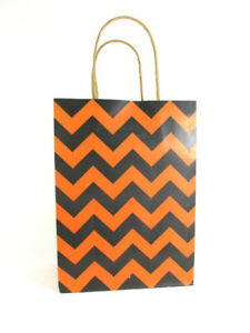 LDW 9 Orange Black Chevron Kraft Handle Paper Party Favor Wedding Gift Bags
