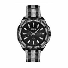 Seiko Men's Solar Swarovski Crystal Black Stainless Black Dial Date Watch SNE459