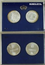 Año 1987. 2 Monedas de 500 pesetas Plata 25 Aniversario Bodas. Diámetro 28 mm.