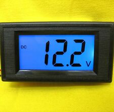 LCD Volt Panel Meter BLUE Voltmeter Display Solar Battery 24V 12V DC30V Car Auto