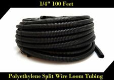 "Wire Loom Black 100' Feet 1/4"" Split Tubing Hose Cover Auto Home Marine"