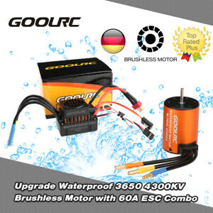 GoolRC Wasserdicht 3650 4300KV Brushless Motor + 60A ESC Set für 1/10 RC Auto