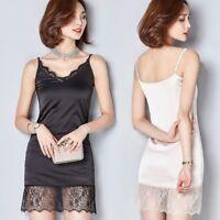 Women Stain Camisoles Dress V Neck Floral Lace Extender Trim Long Tank Tops Slip
