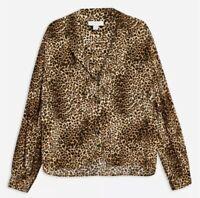 Topshop Petite Shirt Size 4 6 Leopard Print Animal V-neck Brown Blouse Top Indie