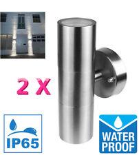 2 Pcs Waterproof Stainless Steel Up Down Wall Light GU10 Lamp Holders Outdoor