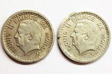 lot de 2x 2 francs Louis II Monaco aluminium
