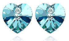 Shiny & Elegant Ocean Blue Crystal Heart Shaped Stud Earrings Studs E173