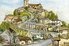 Very Rare Isle of Wight Postcard Artists Impression of Godshill by Paul Burgess
