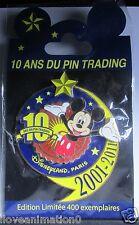 Disney DLP 10 Ans du Pin Trading Disneyland Paris Jumbo Mickey Mouse LE 400 Pin
