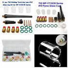 21/23 pcs Welding Torch Gas Lens Pyrex Cup Kit For TIG WP-17/18/26 WP-9/20/25