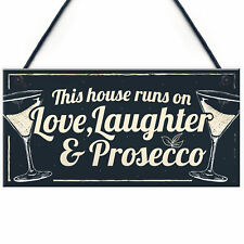 Fun Laughter Prosecco Kitchen Plaque Alcohol Home Bar Sign Friend Gift For Women