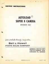 BELL & HOWELL SERVICE MANUAL & SUPPLEMENT 1: 432 AUTOLOAD SUPER 8 CAMERA - 1966