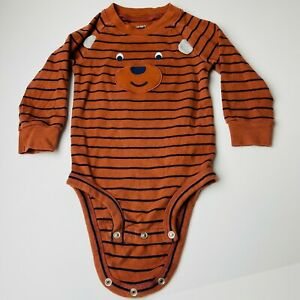 Carter's One Piece Boys Romper Bear Face Brown Striped Long Sleeve 18M NWOT