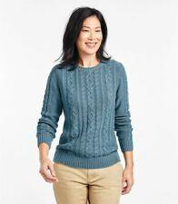 NWT LL Bean Women's Cable Knit Pullover Sweater Crew Neck Size PM Olive Green