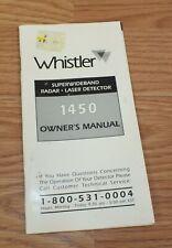 Genuine Whistler (1450) Superwiderband Radar Laser Detector Owner's Manual