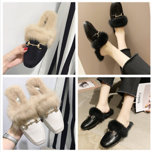 Ladies Backless Slippers Shoes Rabbit hair Fur Flat Slip On Lined Mule Loafers K