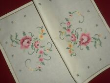 Vintage  Handmade Cotton Cross Stitch Tray Cloth or Dressing Table Topper
