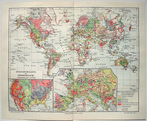 Original 1910 Geological Map of the World by Meyers. Antique