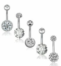 5Pcs 14G Stainless Steel Belly Button Rings Women Navel Rings CZ Body Piercing