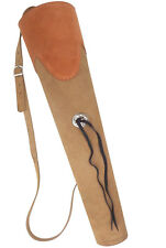 """TRADITIONAL SUEDE LEATHER BACK ARROW QUIVER   HL#137 BROWN - 20"""" LONG"""
