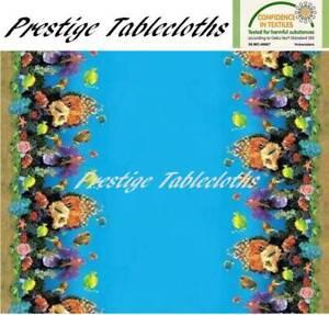 Aquarium Fish PVC Vinyl Wipe Clean Tablecloth - ALL SIZES - Code: F609-1