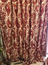 Vintage mid century modern fabric drapery curtains panels Red Handprint Custom
