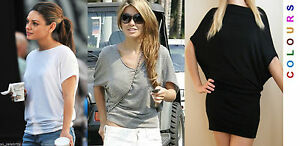 COCOON SLOUCH BAGGY BATWING TOP T.SHIRT DRESS SHORT SLEEVES 6 8 10 12 14 16 18