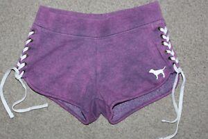 Women Sz Small Victorias Secret PINK Purple Side Lace Up Shorts Cotton Fleece