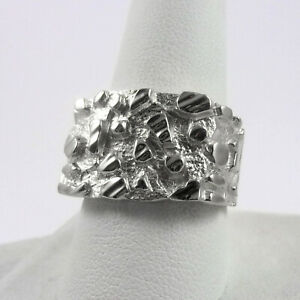 Solid 10K White Gold Mens Nugget Ring Diamond Cut Heavy Wide Face, Size 5 - 15
