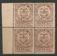 STAMPS-ANTIOQUIA. 1890. 50c Brown-Violet. 4 Block. Pos 31-32/41-42. SG: 79.