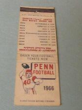 1966 University of Pennsylvania Quakers College Football Schedule Matchbook