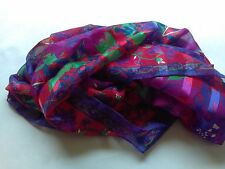 Vintage Berkshire Purple Red Green Floral Shawl Scarf Wrap Made In Italy