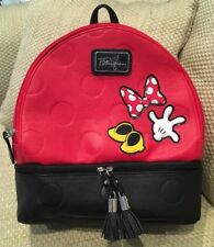 DISNEY PARKS MINNIE MOUSE BOUTIQUE MEDIUM RED/BLACK BACKPACK - NEW W ITH TAGS!