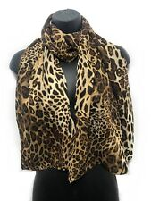 Chiffon Leopard Animal Print Sarong Style Scarf Tiger Cheetah Wrap Scarves