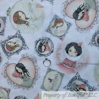 BonEful Fabric FQ Cotton Quilt VTG White Pink Santoro London Antique Flower Girl
